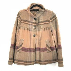 Zara Women Size L Pink Plaid Wool Swing Jacket